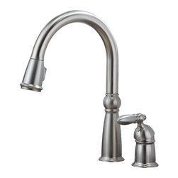 Delta - Victorian Single Handle Pull-Down Kitchen Faucet with Diamond Seal Technology - Delta 955-SS-DST Victorian Single Handle Pull-Down Kitchen Faucet with Diamond Seal Technology in Stainless.