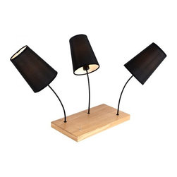 ParrotUncle - Black Fabric Shade 3 Lights Wooden Base Table Lamp - Black Fabric Shade 3 Lights Wooden Base Table Lamp