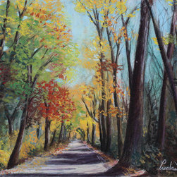 """""""Starved Rock Park"""" (Original) By Prashant Shah - We Visited Starved Rock State Park During Fall.  This Painting Was Inspired By The Beautiful Tall Trees And Amazing Autumn Colors Of That Day."""