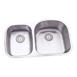 """TCS Home Supplies - 32 Inch Stainless Steel Undermount Double 40/60 D-Bowl Offset Kitchen Sink - 16 Gauge Stainless Steel Kitchen Sink.  40/60 Offset Double Bowl.  Undermount Installation.  Brushed Stainless Steel Finish.  Dimensions 31-1/2"""" x 20-3/4"""" x 7"""" 