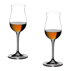 Riedel - Riedel Vinum Cognac Hennessy Glasses - Set of 2 - Different opinions on the ideal cognac glass are as old as the drink itself. Even today, cognac is mainly served in wide tulip-shaped glasses - in spite of the disadvantages which this traditional shape has for the enjoyment of cognac. The differences in color, aroma and taste are the features by which the quality of a cognac is judged. The finely tuned shape of this glass harmonises the aroma and the taste, tempering the alcohol and the stringency of the palate and emphasizing the bouquet. The flute-shaped glass allows its contents a very small evaporation surface. You will be surprised to detect no pungent fumes but delicately balanced aromas reminiscent of a summer meadow. Recommended for: Armagnac (mature), Armagnac (young), Brandy, Calvados, Cognac V.S.O.P., Cognac XO, Rum, V.S.O.P. Cognac, XO Cognac