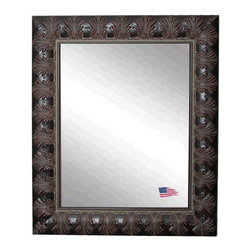 Rayne Mirrors - American Made Rayne Classic Feathered Mahogany Wall Mirror - Spark drama in your space with this glamourous frame finished in a warm aged mahogany wood, embellished with feathered details.  This artfully tailored wall mirror presents a visually texture-rich refection. Rayne's American Made standard of quality includes; metal reinforced frame corner support, both vertical and horizontal hanging hardware installed and a manufacturers warranty.