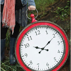 Crimson Wall Timepiece - Put pocketwatch styling on display for all with this intriguing wall clock. With a classic pocketwatch shape and fob, but wonderfully oversized, it brings some traditional charm to the room. The bright red finish gives it an eye-catching touch.