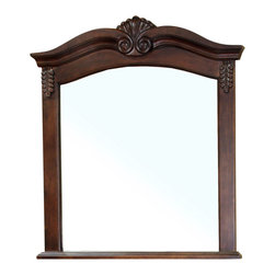 Bellaterra Home - Solid Wood Frame Mirror-Walnut - Constructed with solid birch wood with detail wood carving to enhance the traditional look. High quality glass to prevent rusting against bathroom humidity. Dimensions: 33.5 W x 2 D x 38.6 H