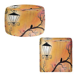 DiaNoche Designs - Ottoman Stool  - A Bit Of Calm In the Old City - Lightweight, artistic, bean bag style Ottomans.  Coming in 2 squares sizes and 1 round, you now have a unique place put rest your legs or tush after a long day!. Artist print on all sides. Dye Sublimation printing adheres the ink to the material for long life and durability. Printed top, khaki colored bottom, Machine Washable, Product may vary slightly from image.