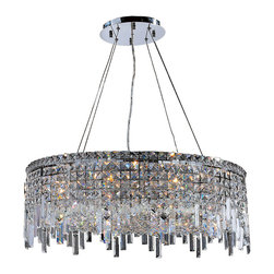"""Worldwide Lighting - Cascade 12 Light Chrome Finish and Crystal 28"""" Round Chandelier - This stunning 12-light Crystal Chandelier only uses the best quality material and workmanship ensuring a beautiful heirloom quality piece. Featuring a radiant chrome finish and finely cut premium grade clear crystals with a lead content of 30%, this elegant chandelier will give any room sparkle and glamour. Dual-mount option for flush or suspension. Worldwide Lighting Corporation is a privately owned manufacturer of high quality crystal chandeliers, pendants, surface mounts, sconces and custom decorative lighting products for the residential, hospitality and commercial building markets. Our high quality crystals meet all standards of perfection, possessing lead oxide of 30% that is above industry standards and can be seen in prestigious homes, hotels, restaurants, casinos, and churches across the country. Our mission is to enhance your lighting needs with exceptional quality fixtures at a reasonable price."""
