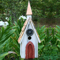 Jubilee Bird House - Antique White - The architectural details in this bird house include a Filigreed cast iron medallion and copper steeple. Its weathered painted door and shingled roof offer an inviting beauty to any space.