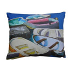 Robin Rowe - Skiffs Accent Pillow - An easy, breezy way to add freshness and color to any room in your home is with Indeed Decor's Skiffs accent pillow.  Adding two or three accent pillows to your sofa or bed is an easy and inexpensive way to transform a room with bright and cheerful spring hues. A selection of Robin Rowe's original paintings are now printed on linen for a new line of designer pillows. The linen pillow back displays a stitched woven damask label of the Roweboat logo. The pillow is a down blend with an invisible zipper for easy cleaning. All pillows are Made in the USA. Each stunning pillow is offered in three sizes.  These pillows make much appreciated gift, if you can bear to part with one.