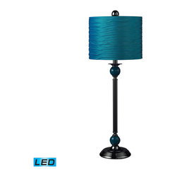 Dimond Lighting - Dimond Lighting Carrington Metal Buffet Lamp w/ Pleated Shade - Turquoise - LED - Metal Buffet Lamp w/ Pleated Shade - Turquoise - LED Offering Up To 800 Lumens belongs to Carrington Collection by Dimond Lighting Buffet Lamp (1)