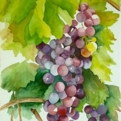 Wine on the Vine, Orginal Watercolor, Giclee Print - There is so much to love about watercolor.  All of the shades and no color at all, with endless possibilities, even with only one image, we could explore it in infinite ways. Choice of original watercolor or giclee print.