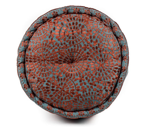 Round Moroccan Silk Pillow, Capri Blue / Rust - An inviting focal point, the Moroccan Silk Pillow's beautiful rust tones glimmer with complimentary silk embroidery. It's soft organic geometrics contrasting a firm support make it an easy way to play with pattern and color.