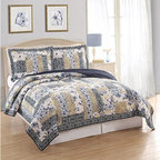 Pem America - Dumont Multicolor Two-Piece Twin Quilt Set - - This traditional patchwork pattern uses soft yellows blacks and grays with occasional pops of canary yellow and sapphire blue. The reverse is a solid black  - Set Includes: Twin Quilt 1 Standard Pillow Sham (20x26 Inches)  - Made with 80% Cotton and 20% Polyester Fill  - Pre-Washed For Comfort and Durability  - Cleaning Care: Machine Wash Cold/Gentle Do Not Bleach Tumble Dry Low. Pem America - QS8569TW-2300