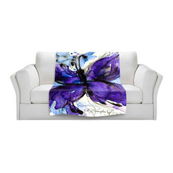 DiaNoche Designs - Throw Blanket Fleece - Butterfly Song IV - Original Artwork printed to an ultra soft fleece Blanket for a unique look and feel of your living room couch or bedroom space.  DiaNoche Designs uses images from artists all over the world to create Illuminated art, Canvas Art, Sheets, Pillows, Duvets, Blankets and many other items that you can print to.  Every purchase supports an artist!