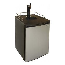 Vinotemp - VT-PONYKEG Pony Keg Beer Dispenser  Stainless-Steel/Black - This beer dispenser features an adjustable temperature control with a 48-61 temperature range to keep your beer cool Rolling casters with brakes allow easy mobility