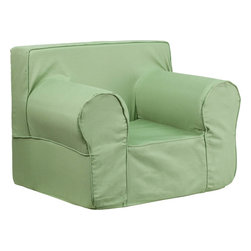 Flash Furniture - Oversized Solid Green Kids Chair - This comfy foam chair is a fun piece of furniture for children to enjoy for reading and relaxing. The lightweight design with carrying handle will allow this chair to be toted in several locations. The slipcover can be removed for cleaning or spot cleaned upon accidents.