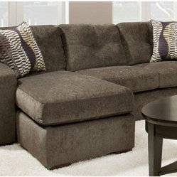Chelsea Home Rockland Sofa with Chaise - Hematite Gray