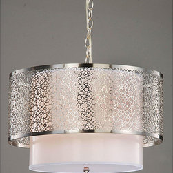 None - 3-light Contemporary White Shade Satin Nickel Chandelier - Brighten up your room with this three-light stain nickel chandelier. The contemporary chandelier features a beautiful white fabric shade under a decorative metal shade with an intricate circular pattern that makes this shade the focal point of any room.