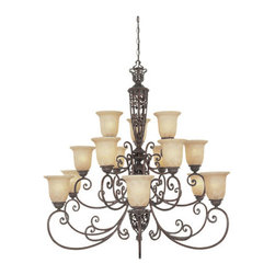 Designers Fountain - Designers Fountain 975815 Fifteen Light Up Lighting Three Tier Chandelier - Features: