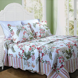 None - Secret Garden Quilted Bedspread - Sweet and whimsical,this stunning floral quilted bedspread offers an easy way to transform your bedroom decor. Crafted with 100 percent cotton,the bedspread reverses to a multicolored striped pattern,so you can change sides at a whim.