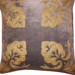 Crewel Fabric World - Crewel Pillow Konark Squared Tan on Dark Grey Cotton Velvet 18x18 Inches - Artisans in a remote mountain village in Kashmir crewel stitch these blossoms, vines and leaves by hand, resulting in a lush pattern of richly shaded wool yarns on Linen, Cotton, Velvet, Silk Organza, Jute. Also backed in natural linen, Cotton, Velvet Silk Organza, Jute with a hidden zipper.