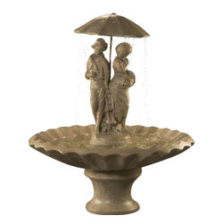 Springtime Garden Fountain, Autumn Leaf - The Springtime Garden Fountain exudes uniqueness and sophistication with its two standing figures under an umbrella on a scalloped basin. Not only is it appealing to the eyes, it's also good for the ears because of the sweet and gentle water flow sound it creates. By having this fountain, you're making a great investment because it will make your outside space visually gorgeous.