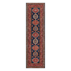 Rugsville - Rugsville  Kazak Navy Red Wool 16504-2792 Rug 2.7x9.2 - Our Super Kazak collection carries some of the finest pieces weaved in the Orient! These Kazaks are a modern shape