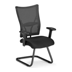 OFM - OFM Talisto Series Executive Mid-Back Mesh Guest Chair in Black - OFM - Office Chairs - 595FBLACK - Enjoy temperate comfort with OFM's Talisto Series Executive Mesh Back and Fabric Seat Guest Chair Model 595-F. The mesh back and headrest design allows for optimal air flow for all-day comfort. For added support the soft padded arms can be adjusted for height. The fabric seat is constructed from comfortable fire-retardant foam. Also features a stable cantilever base. Weight capacity is 250 lbs.