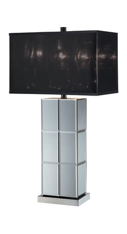 Lite Source - Lite Source Dario Contemporary Table Lamp XSL-68912 - The rectangular shape of the base is highlighted by a combination of mirrors and a Chrome finish on this Lite Source contemporary table lamp. From the Dario Collection, it has been paired with a rectangular shade made from a black transparent mylar that pulls the look together.