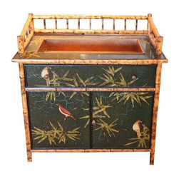 """Pre-owned Antique Bamboo Bird Bar - An antique bamboo bar. This vintage bar features a bird and leaf motif painted on the cabinet fronts, sides and top and natural colored bamboo framing details.      This piece is an antique bar from """"Digs"""", an amazing antique store on Abbot Kinney in Venice Beach, Ca.    Pro tip: The seller used this beautiful and very unique piece in a hallway and filled the sink with wheat grass!"""