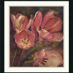 Amanti Art - Tulip Two Framed Print by Dysart - Infuse your home with the elegance of floral art with a modern flair. Juxtaposing a group of tulips with a velvety brown backdrop, artist Dysart lends his subject an air of sophistication.