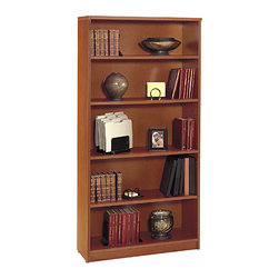 "Bush Business - 5-Shelf Bookcase in Auburn Maple - Series C - The Series C Auburn Maple Double Open Bookcase features a total of 5 generously sized shelves: 2 fixed to provide stability and 3 that adjust to your preference. The bookcase stands 71 inches high and displays a pleasing Auburn Maple finish. Open shelving offers many solutions in the workplace and at home. Choose a five-shelf bookcase that's wide enough to provide display space as well as access to active files. Wonderfully warm auburn maple finish will add appeal and complement any setting. * Two fixed shelves for stability. Three adjustable shelves for flexibility. Matches 71"" Hutch in height and depth. Ships ready for easy assembly. 35.59 in. W x 15.354 in. D x 72.834 in. H"