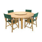 Westminster Teak Furniture - Buckingham Teak Director Chair Set - This timeless Teak Outdoor Patio Set includes Four beautiful Westminster Teak Director Chairs and our Popular Buckingham Table.