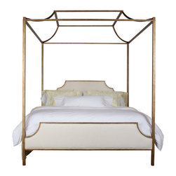 Paramount Metal King Bed With Upholstered Panels - This pagoda-shaped bed would be quite a focal point. I love the upholstered headboard and footboard too.