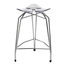 Kubikoff - Diamond Counter Stool, Clear Seat, Chrome Plated - Diamond Counter Stool