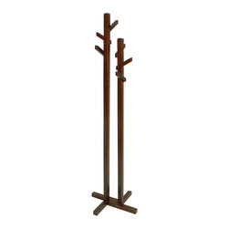Proman Products - Proman Products Double Tree Coat Rackin Dark Walnut - Double tree coat rack. Two tree trunks and total of 6 branches. Dark walnut color.