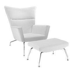LexMod - Wegner Style CH445 Wing Chair and Ottoman in White Leather - Gather strength between two joined wingtips with the captivating CH445 Wing Chair. Perched on two back and fore chrome legs, the piece perfectly illustrates the correspondence of elements in motion. Complete with a capacious ottoman, experience incredible style without sacrificing on comfort.
