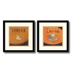 Amanti Art - Espresso and Mocha Latte: Black Satin - Set by Jillian David Design - Sweeten your decor with a stylized, steaming cups of coffee from Jillian David Design. Terrific for the kitchen, bistro or study, this tantalizing decor piece is a must-have for latte lovers!