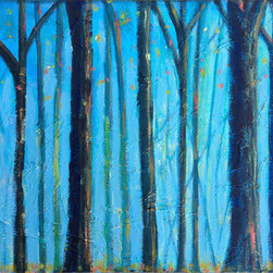 Blue Forest (Original) By Sally Adams - I like the way light dances off the leaves and between the branches when I am in the woods.
