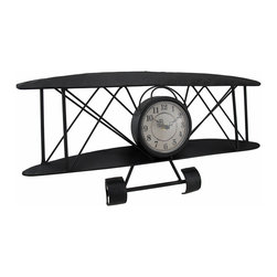 Zeckos - Antique Finish Metal Biplane Wall Clock Distressed Finish 21 Inch - This unique wall clock adds a wonderful accent to the homes or offices of aviation enthusiasts. Made of metal with an allover black enamel finish, it measures 21 inches (53 cm) long, 11 inches (28 cm) high, and 2 1/2 inches (7 cm) deep. The clock contains a quartz movement and runs on a single AA battery (not included). This piece makes a great gift that is sure to be admired.