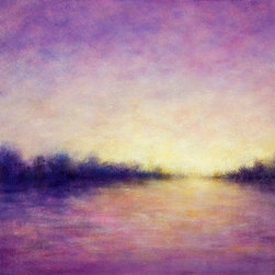 """Wetland Dusk "" (Original) By Victoria Veedell - This Is Part Of An Ongoing Series Inspired By Elkhorn Slough An Estuary Reserve On The California Coast.  The Time Of Day Is Late Afternoon As The Sun Is Beginning To Go Down And The Colors Of The Landscape Are Softening."