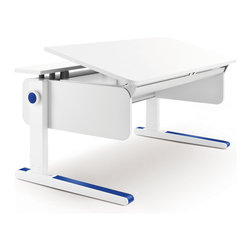 Moll - Champion Kids Adjustable Desk, Front Up - Ergonomically designed for right or left handed children, this adjustable desk grows with your child for lasting value. A split desktop offers a large adjustable work area that tilts to a comfortable angle for reading, writing and drawing and a fixed area for supplies, books and electronics. A patented, child-safe, yo-yo style pulley system effortlessly raises or lowers the desk height to the perfect level for your child. From a tiny tot to a towering teenager, this is the only desk your child will need.