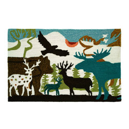 Homefires - Forest Dwellers Rug - Moose, eagle, elk, this playful rug takes you deep in the woods — to that dynamic but serenely quiet place far away from the hustle and bustle. The machine washable, wool look-alike, accent rug, designed by Mo Mullan, will bring a little mountain cabin character to your urban or suburban home.
