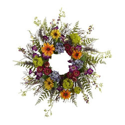 """24"""" Spring Garden Wreath with Twig Base - Say hello to Spring sunshine, no matter what time of year it is. This pretty 24 """" Spring Garden Wreath takes everything we love about spring, and wraps it into a never-ending circle of colorful sunshine! With a vast array of springtime blooms, sprigs, and twiggy base, it looks so real even the bees will be fooled! Makes an ideal home or office decoration, and a fine gift as well. Height= 24 In. x Width= 24 In. x Depth= 24 In."""