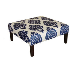 Kristine Upholstered Ottoman Diamond, Blue - This pattern is the same as the curtains in my living room. It's striking and bold!