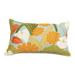 Canaan Company - 14x22 Aqua Lumbar Accent Pillow - - Linen Print  - 100% Poly  - Spot Clean Or Dry Clean Canaan Company - P-484-A