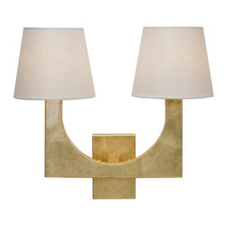 Worlds Away - Worlds Away Gold Leaf 2 Arm Wall Sconce FRITZ G - Gold leaf 2 arm sconce with white linen shades. Ul approved for two 40 watt candelabra bulbs.