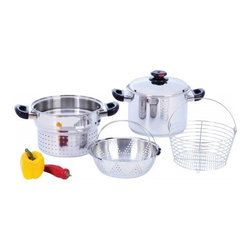 """Steam Control - Steam Control™ 8qt T304 Stainless Steel Stockpot/Spaghetti Cooker with Deep Fry - Excellent for pasta, seafood, soups, stews, and rice; this multi-cooker boils, steams and blanches. Simply lift out the deep pasta insert after the pasta has cooked. No need to pour hot water into a separate colander. This is much easier and safer. Set includes: 8qt stockpot, cover with Steam Control™ top knob, pasta colander, deep fry basket, and 4-3/8"""" steamer basket. All 3 inserts can be used alone in the 8qt stockpot or the pasta insert & steamer basket can be used at the same time. All pieces store together inside stockpot. Limited lifetime warranty. White box."""