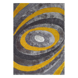 Rug - ~5 ft. x 7 ft. Shaggy Indoor Area Rugs for Any Living Room Space, Gray/Yellow, 5 - LIVING SHAG COLLECTION