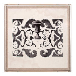 Parterre Grey 1 - Framed Print - The neo-Classical urn gracefully sketched just above center of Parterre Grey 1 suggests the function of the French curves and geometric polygons that surround it: a plan for a portion of a formal European garden where nobility would have meditated on the patterns of cultivated flora. Reproduced in a medley of grey tones, this illustrations looks striking on a linen backdrop.