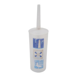 Printed Toilet Brush Key West Blue - This printed toilet brush Key west for bathrooms is in polypropylene. It is opaque with maritime patterns. Diameter 3.94-Inch and height 13.78-Inch. Wipe clean with a damp cloth. Color blue. Ideal to clean your toilet and keep hygiene and cleanliness! Esthetic, the brush easily stows away in an elegant container. Add a classic style element to your bathroom with this functional and trendy toilet brush that coordinates easily with your decor. Complete your Key west decoration with other products of the same collection. Imported.